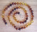 Parent and Child Amber Necklace set - Dark Rainbow